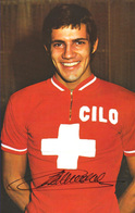CARTE CYCLISME SERGE DEMIERRE SIGNEE TEAM CILO 1977 ( DECOUPEE, FORMAT 9,5 X 14,8 ) - Wielrennen