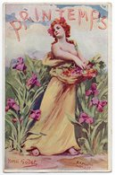 SAISONS * PRINTEMPS * FEMME * Illustrateur HENRI GODET * FLEURS /  IRIS * Carte Colorisée - Other