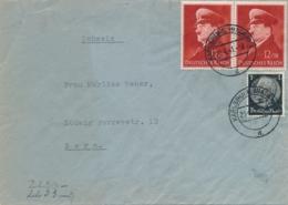 Deutsches Reich - 1941 - 2x Birthday Hitler In Pair On Censored Cover From Karlsruhe To Bern / Schweiz - Allemagne