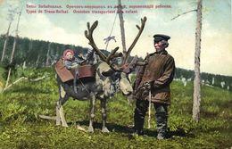 Russia, Transbaikal Dauria, Oroch Man Transports Son By Moose (1910s) Postcard - Russie