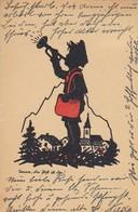 AK Trara, Die Post Ist Da - Postbote Mit Trompete - Scherenschnitt Silhouette - 1943 (47946) - Scherenschnitt - Silhouette