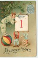 N°14588 - Heureuse Année - Clown Près D'un Ephéméride Avec Un Singe, Et D'un Chien - 1er Janvier - Nouvel An