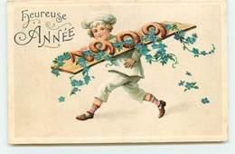 N°14590 - Carte Gaufrée - Heureuse Année - Boulanger Portant Des Pains En Forme De 1909 - New Year