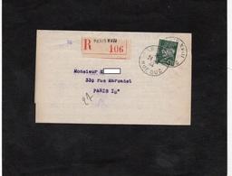 LSC - Recommandé Et Cachet PARIS XVIII  Sur Timbre Pétain YT 521B Seul Sur Lettre - 1921-1960: Periodo Moderno
