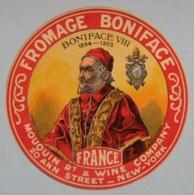 """Etiquette Fromage - Le Pape """"BONIFACE VIII"""" - Sociétè Des Fermiers Normands Export New-York USA - Normandie  A Voir ! - Formaggio"""