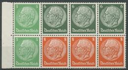 Deutsches Reich 1937/39 Markenheftchenblatt Hindenburg H-Blatt 92 B Postfrisch - Se-Tenant