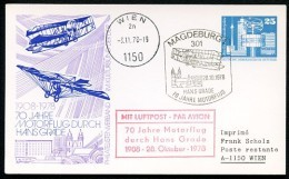DDR PP17 C1/002b Privat-Postkarte 70 J. MOTORFLUG HANS GRADE Magdeburg 1978  NGK 6,00 € - [6] Oost-Duitsland