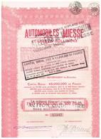 Titre Ancien - Automobiles Miesse Et Usines Bollinckx - Titre De 1929 - N° 47547 - Automobile