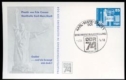DDR PP17 C2/008 Privat-Postkarte GALILEO GALILEI Skulptur CREMER Chemnitz Sost. 1974  NGK 5,00 € - [6] Oost-Duitsland