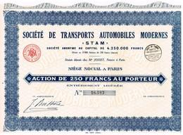 """Titre Ancien - Société De Transports Automobiles Modernes """"STAM""""  - - Automobile"""