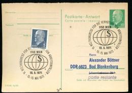 DDR P77A Antwort-Postkarte PRIVATER ZUDRUCK #4 Sost. VERHÜTUNG ARBEITSUNFÄLLE Wien 1971 - [6] Oost-Duitsland