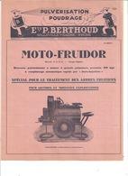 PULVERISATION POUDRAGE -ETS P. BERTHOUD - BELLEVILLE S/SAONE  RHONE - MOTO-FRUIDOR  N°2037D - 1900 – 1949