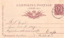 Galluccio. 1891. Annullo Grande Cerchio GALLUCCIO, Su Cartolina Postale - 1878-00 Umberto I