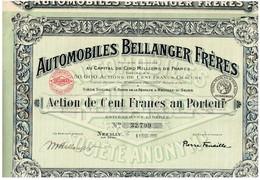 Titre Ancien - Automobiles Bellanger Frères - Société Anonyme - Titre De 1919 - Automobile