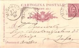 Mignano. 1892. Annullo Grande Cerchio MIGNANO, Su Cartolina Postale - 1878-00 Umberto I