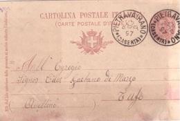 Pietravairano. 1897. Annullo Grande Cerchio PIETRAVAIRANO (CASERTA), Su Cartolina Postale - 1878-00 Umberto I