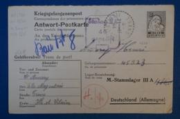B83 ALLEMAGNE FRANCE  STALAG IIA CARTE 1944 RARE POUR ILE ET VILAINE MAGENTAIS  + AFRANCH INTERESSANT + TEMOIGNAGE - Germania