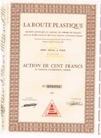 Titre Ancien - La Route Plastique - Société Anonyme - Titre De 1963 - Automobile