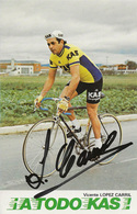 CARTE CYCLISME VICENTE LOPEZ CARRIL SIGNEE 1977 - Cycling