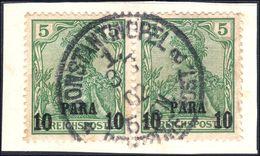 Turkish Empire 1900 10pa On 5pf Fine Used Matched Pair. - Bureau: Turquie
