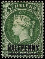 St Helena 1884-94 ½d Green (14½mm) Fine Mint Lightly Hinged. - Saint Helena Island
