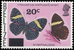 Belize 1976 Butterfly Provisional Lightly Mounted Mint. - Belize (1973-...)