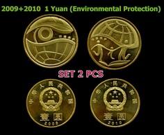 """CHINA CHINESE 1 Yuan 2009+2010 """"Environmental Pro """"Commemorative Coin SET 2 PCS - China"""