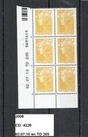 CD6 De 2008 Neuf**  Y&T N° 4226 Daté Du 02.07.10 - Dated Corners