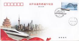 CHINA 2011 Beijing To Shanghai High Speed Railway Train Locomotive Commemorative Cover - Covers