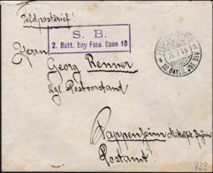 German Feldpost WW1: 10. Bay. Fuss-Artillerie-Bataillion (2. Batterie) P/m 16.7.1915 By 10. Bayer. Infanterie Division - Militaria