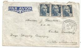 GANDON 10FR GRAVE X3 LETTRE AVION NANTES 20.1.1947 POUR LAGO ANTILLES NEERLANDAISES AU TARIF DESTINATION RARE - 1945-54 Marianne (Gandon)