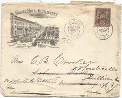 SAGE 25C LETTRE ENTETE NOUVEL HOTEL GUILLERMEN VICHY ALLIER 29 AOUT 1894 POUR USA - Marcofilia (sobres)