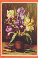 VARB063 Illustrateur MANCEAU Bouquet De Fleurs IRIS Blanc Et Violet Pot LYS 1940s LUII Serie 500-5 V/K 303 - Illustrateurs & Photographes