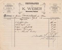 WEISSENBURG HAGENAU PHOTOGRAPHIE VON K WEBER ANFERTIGUNG ALLER ARTEN PORTRAITS VERGROSSERUNG ANNEE 1896 - France