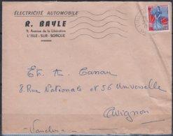 ELECTRICITE AUTOMOBILE     Enveloppe à Entete PUB   De 84 L'ISLE-sur-SORGUE Vaucluse  Postée  Le 27 1 1960 - Advertising