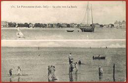 CPA 44- LE POULIGUEN -Double Vue- La Côte Vers La Baule-voyagée 1909 Avec Timbre Perforé  D R-scans Recto Verso - Le Pouliguen