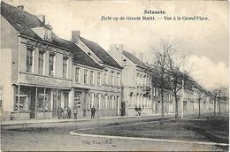 Selzaete - Zicht Op De Groote Markt. (Café Den Gouden Leeuw) - Zelzate