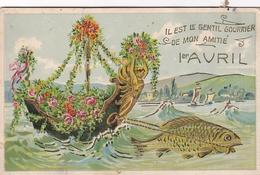 Il Est Le Gentil Courrier De Mon Amitié  (carte Avec Reliefs) - 1 De April (pescado De Abril)