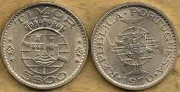 TIMOR PORTUGUISE 5 ESCUDOS SHIELD FRONT EMBLEM BACK 1970 VF+ KM21 READ DESCRIPTION CAREFULLY !!! - Timor