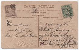 Annulation OR Origine Rurale / Taxe 10c Banderole Duval 1907 Carte Postale 5c BLANC + Timbre Boîte B Vendée - Marcofilie (Brieven)