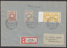SBZ 47DIa(2) 30 Pf COSWIG Im Waagerechtem Paar Postmeisterzähnung R-Brief In MiF - Zone Soviétique