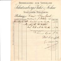 SCHILTIGHEIM STRASSBURG SCHUTZENGERGER VATER SOEHNEBIERBRAUEREI ZUM VATERLAND ANNEE1896 CACHET VERTRETER MOREAU HAGUENAU - France