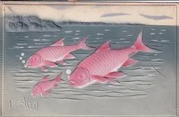 1er Avril Poissons (carte à Reliefs) - 1 De April (pescado De Abril)