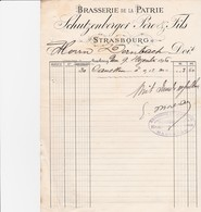 STRASBOURG SCHUTZENBERGER BRASSERIE DE LA PATRIE ANNEE 1896 FACTURE AVEC CACHET EUGENE MOREAU HAGUENAU - France