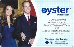 CARTE TRANSPORT METRO AUTOBUS TRAMWAY TRANSPORT LONDRES ROYAUME-UNI CARTE EDITION LIMITÉE MARIAGE PRINCE WILLIAM - Biglietti Di Trasporto