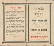 Armée De Terre Carte D'identité Officier De Réserve Cachet Centre De Mobilisation Infanterie N°122 Périgueux 3 2 1928 - Marcophilie (Lettres)