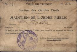 Ville Vésinet Section Gardes Civils Maintien De L'ordre Public Durant La Guerre Carte Cachet Déesse Assise Marie Vésinet - WW I