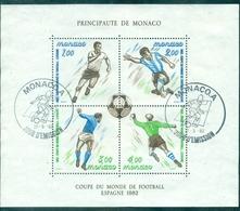 MONACO BF N° 21 Coupe Du Monde Football 1982 Oblitéré PJ TB - Blocs