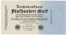 GERMANY500MARK07/07/1922P74UNC8 Digits S/N.CV. - [ 3] 1918-1933 : République De Weimar