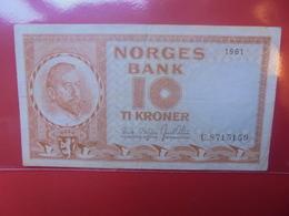 NORVEGE 10 KRONER 1961 CIRCULER (B.11) - Noruega